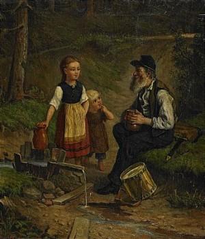 Vilande Trumslagare Och Småflickor Vid Vattenkälla by Jakob SILVÉN