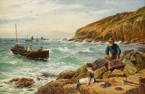 Fiskare Vid Klippig Kust by William Henry BORROW