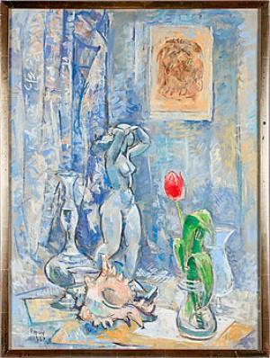 Stilleben Med Kvinnoskulptur Samt Röd Tulpan by Arthur PERCY