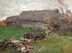 View With A Barn by Konstantin Alexeievich KOROVIN