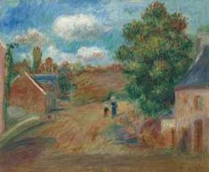 Paysage, Entrée De Village Avec Femme Et Enfant by Pierre Auguste RENOIR