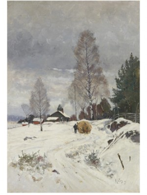 Vinterlandskap Med Höfora by Anton GENBERG