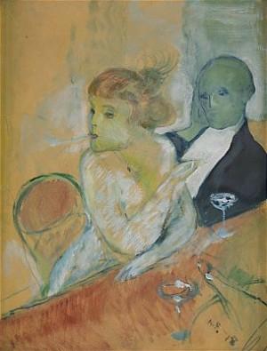 Dam Och Herre Vid Restaurangbord by Axel FRIDELL