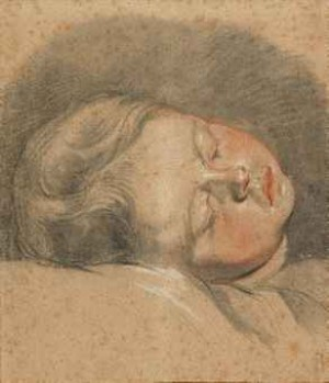 The Head Of A Sleeping Child by Jean-Baptiste GREUZE