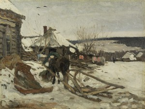Horse-drawn Sled In The Winter by Isaac Illich LEVITAN