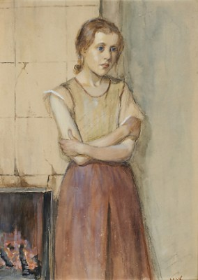 Girl In Front Of A Fireplace by Maria WIIK