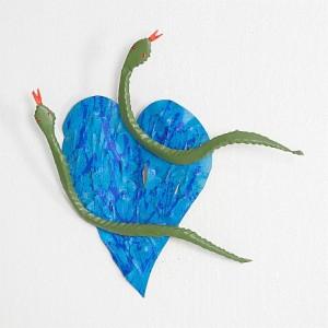 Blått Hjärta Med Ormar by Timo SOLIN