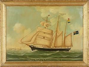 Fartygsporträtt Av Svenska Tremastade Skonerten