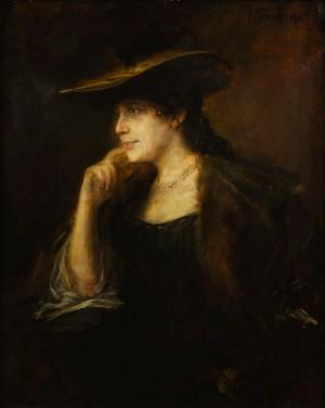 Portrait Einer Jungen Dame Mit Pelzkragen Und Weitrandigem Hut by Franz Seraph Von LENBACH