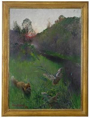 Landskap I Aftonstämning Med Räv Och Sjöfåglar by Bruno LILJEFORS