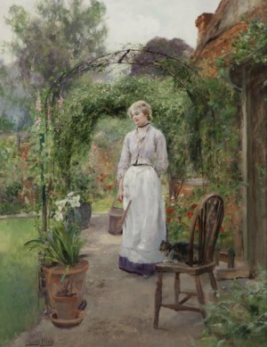Tending The Garden by Henry John YEEND KING