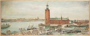 Stockholmsvy över Bland Annat Stadshuset by Ragnar NYBERG