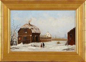 Gårdsexteriör Med Figurer by Gustaf ANKARCRONA