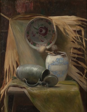 Still Life With Tankard, Vase And Bowl by Alphonse MUCHA