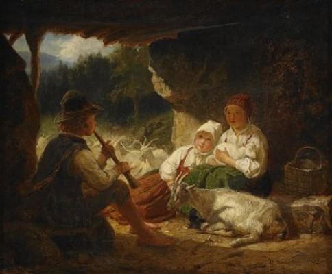 Herdefamilj Med Getter by Bengt NORDENBERG