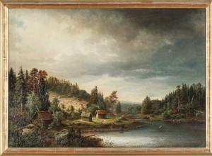 Vattenlandskap Med Stugor Och Kor by Lars Gustav KINMANSSON