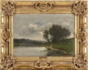 Landskap Med Kvinna Vid Flodstrand by Charles Francois DAUBIGNY