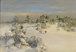 Rävjakt I Vinterlandskap by Bruno LILJEFORS