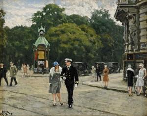 Par På Promenad, Kungens Nytorv, Köpemhamn by Paul FISCHER