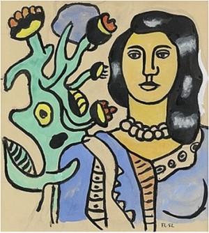 Femme à La Fleur (femme Bleue Et La Plante Verte) by Fernand LEGÉR