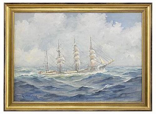 Fartygsporträtt Av Fyrmastad Bark by Alexander WILHELMS