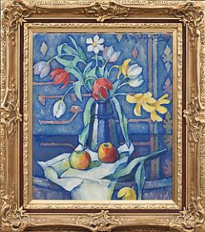 Stilleben Med Blommor Och äpplen by Henning MALMSTRÖM