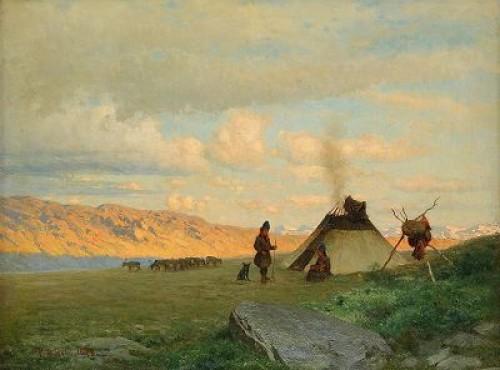 Landskap Med Samer Vid Kåtan by Per Daniel HOLM