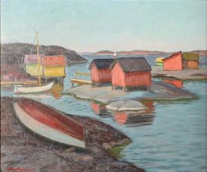 Skärgårdsmotiv Med Fiskebodar by Oddmar BJÖRKLUND