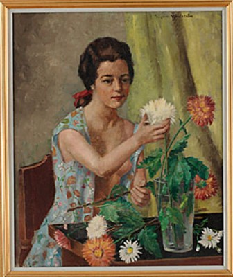 Kvinna Med Blommor by Sigrid WAHLSTRÖM DE ROUGEMONT