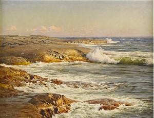 Marstrand - Tåudden I Kvällssol Med Seglare Vid Horisonten by Johan KROUTHÉN