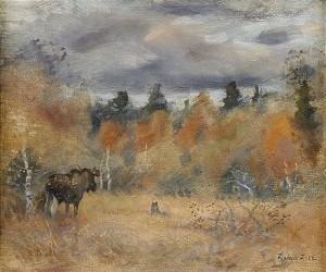 Skogslandskap Med älg Och Gråhund by Lindorm LILJEFORS