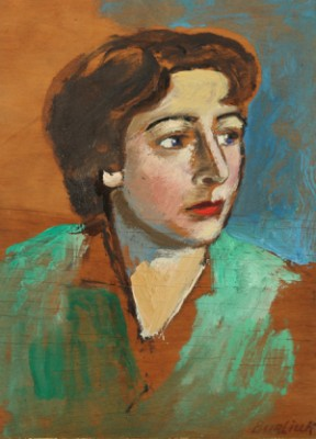 Portrait Of Lucy Manievich, Daughter Of The Artist Abraham Manievich by David Davidovich BURLIUK