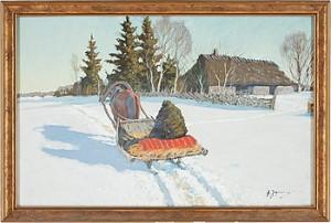 Häst Och Släde I Vinterlandskap by Andrei Afanasievich YEGOROV
