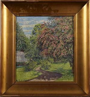 Trädgårdsmotiv Med Körsbärsblom by Hjalmar TRAFVENFELT