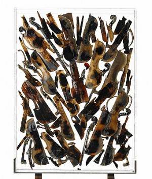 Untitled, Burned And Sliced Violins Placed In Polyester In A V-shape Pattern by Fernandez ARMAN