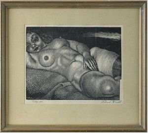 Lamav Akt Kanepiriidel (reclining Nude On A Jute Cloth) by Eduard WIIRALT