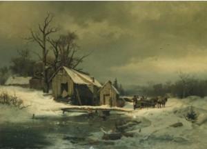 Vinterlandskap Med Lekande Barn Och Hästekipage by Gustaf RYDBERG