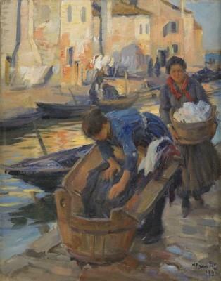 Tvätterskor Vid Kanalen - Venedig by Ivar KAMKE