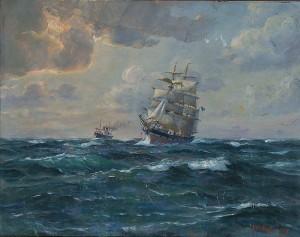 Segelfartyg Med ångfartyg I Bakgrunden by Jens Christian ANDRESEN