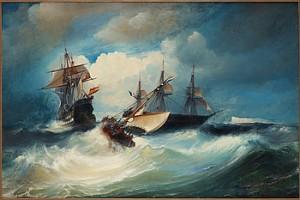 Fartyg Med Fransk, Nederländsk Och Spansk Flagg by Arnold Abraham PLAGEMANN