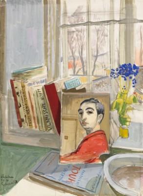 Böcker Och Självporträtt Mot Fönstret - Ur Långholmensviten by Isaac GRÜNEWALD