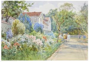 Parkmotiv Med Blommande Trädgård by Anna GARDELL-ERICSON