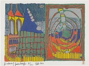 Haus Und Spirale Im Regen by Friedensreich HUNDERTWASSER