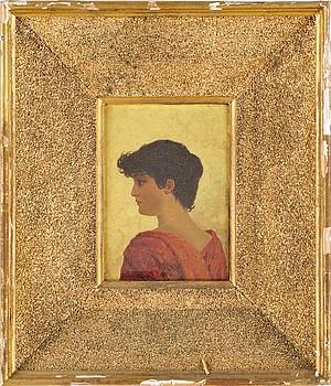 (2) Porträtt Av Kvinna Och Man I Rött by Oscar OHLSON