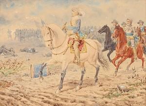 Bataljscen Med Gustav Ii Adolf by Thorvald RASMUSSEN