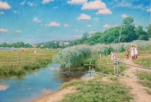 Sommarlandskap Med Barn by Johan KROUTHÉN