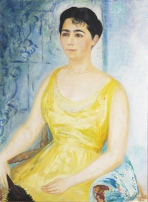 Porträtt Av Dam I Gul Klänning Mot Ljusblå Fond by Isaac GRÜNEWALD