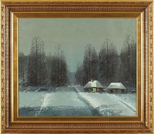 Vinterlandskap I Nattljus by Wiktor KORECKI