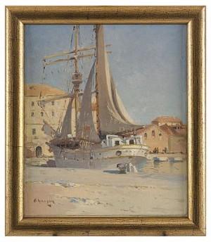 In The Harbour by Alexei Vasilievich HANZEN