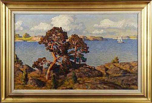 Kustlandskap Med Solbelysta Tallar by Karl BERGMAN